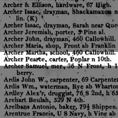 Archer Pearce, carter, Poplar n 10th.