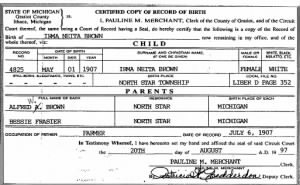 Birth Certificate - Irma Neita Brown