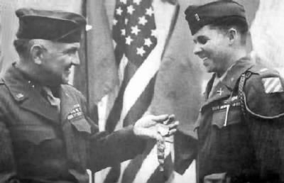 Audie Murphy being awarded for his heroism