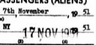 Keller Immigration info-17 Nov 1951