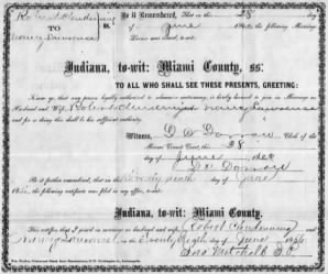 Clendening/Lawrence marriage certificate