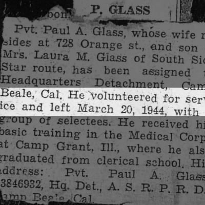 Paul Augustus Glass  volunteered for Army service during WWII