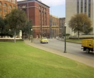 View from the grassy knoll area where Zapruder filmed the assassination, Nov. 8, 1967