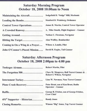 2008 451st Bomb Group Reunion Program - Page 3