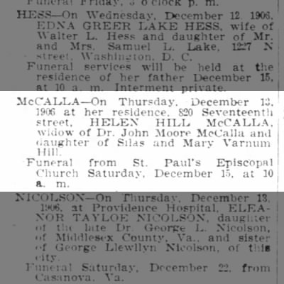 1906 McCALLA  dth.ntc. Wash POST Dec.14