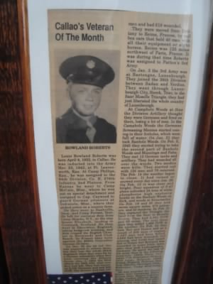 Article ran in local for Veteran of the Month