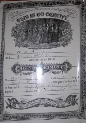 Marriage page of Abram and Varila Simpson Family Bible