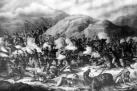 Shows the smoking guns of General Custer and his U. S. Army troops being defeated in battle with Native American Lakota Sioux, and Northern Cheyenne, Little Bighorn Battlefield