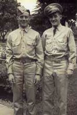 "Harold's Life-Time Friend, Sumner Hudson has ID the photo, This is, on the LEFT Harold F Cookman, KIA Gunner in a B-25 with 321stBG,448thBS, and standing with his brother, Walter ""Cookie"" Cookman, US Army Mechanic.  Ret Lt Col Sumner Hudson is retired in TX and never forgot his friend."
