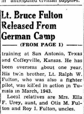 Lt Bruce W Fulton, Fighter Pilot /Newspaper Article (2 of 3)
