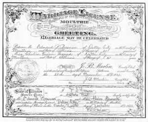 Marriage Certificate for Edmond Bresnan and Chalice Ground