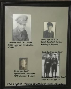 Lt Ron Savill (4 Brothers in the Royal AF, Army, Navy, 2 were KIA, 1 POW)