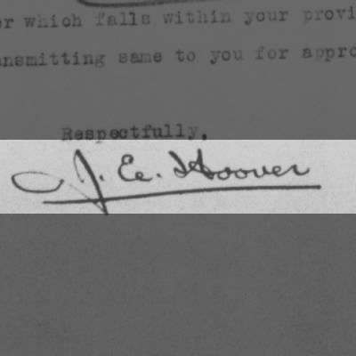 Signature of J. Edgar Hoover on Investigation of Charles A. Lindbergh