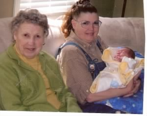 Alta Ennis, 2nd child/daughter Barbi with 1st Great Grandchild, (girl), Alexis.