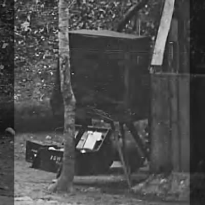 Portable darkroom tent and equipment of photographer Egbert G. Fowx.