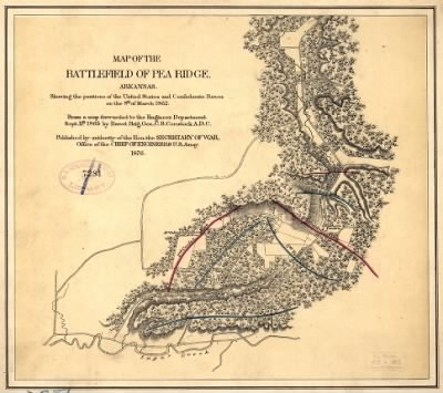 Map of the battlefield of Pea Ridge, Arkansas, showing the positions of the United States and Confederate forces on the 8th of March 1862 From a map forwarded to the Engineer Department Sept. 11th 1865 by Brevet Brig. Gen. C. › Page 1 - Fold3.com
