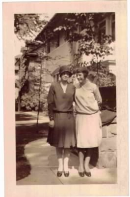 Claire K Knox and Frances V Knox in front of 1310 Race St Denver CO 20 Sept 1929
