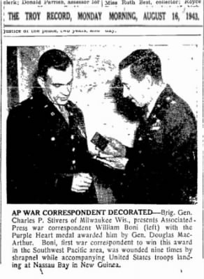 1943 receiving 1st Purple Heart