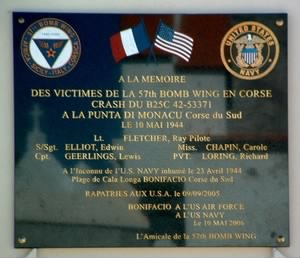 Memorial Plaque on Corsica, Remembering the Lost-Crew and Passengers.