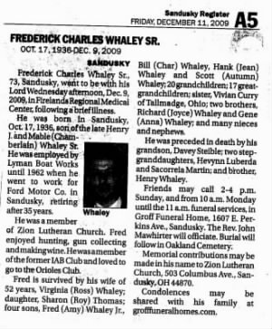 Fred Whaley Obit