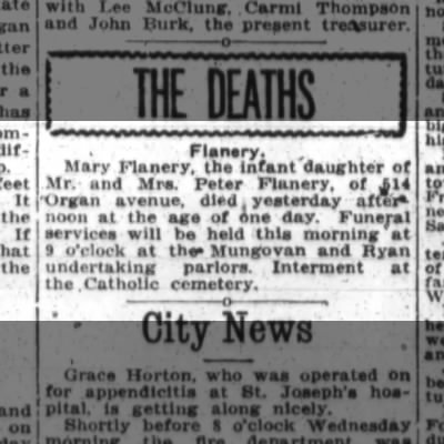 Mary Flanery, dies 1915