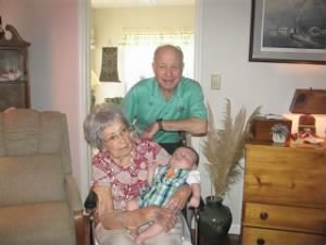 "Ret Col A A ""Bud"" WEst with ""SWEETIE"" and 1 of 17 Great-Grandchildren"