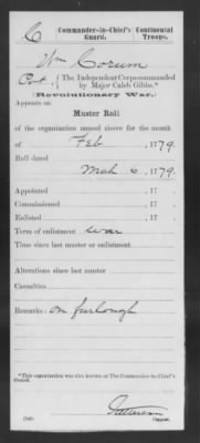 February 1779 Muster Roll