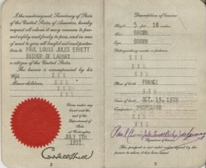 1937 Passport of artist Paul de Launay