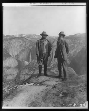 Theodore Roosevelt and John Muir on Glacier Point, 1903