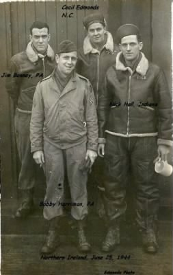 Cecil Edmonds with his friends in Northern Ireland WWII