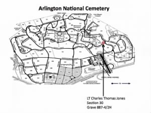 Map of Tom's gravesite at Arlington National Cemetery