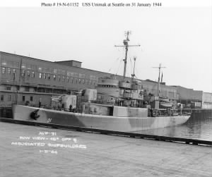USS Unimak AVP - 31  at Seattle on 31 January 1944.