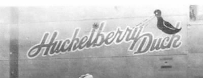 Huckelberry Duck nose-art on the B-25 #41-12925 that James was KIA in. - Fold3.com