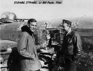 "Lt Bill Poole with his ""broken bird"" B-25 Mitchell shot-up by FLAK. /Corsica, WWII"