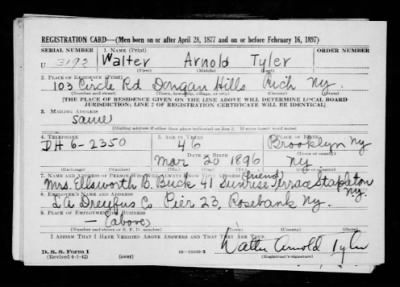 Tyler Walter Arnold 1896 Page 1 Fold3 Com
