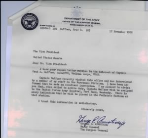 George E. Armstrong, Major General, Surgeon General letter dated 17 Nov 1952
