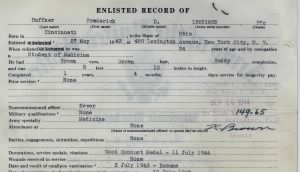 Top section of Enlisted Record on back of Honorable Discharge papers for F.D. Haffner