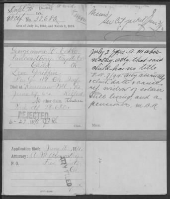 Page 23 Daughter Georgianna tries to claim pension in 1891 = it was rejected due to living widow of Levi (her mother)