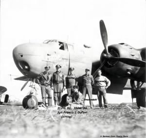 "310th BG, Lt ""Bonny"" Cross and his Crew with the Groove Hermit. Francis is sitting"