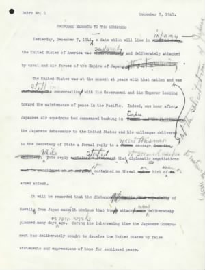 Franklin Roosevelt 'Day of Infamy Speech' draft - pg 1