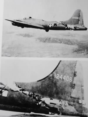 Lt Kendrick Bragg's B-17...a Miracle of itself. 1 Frb. 1943 damaged over N Africa