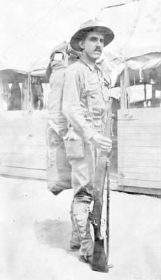 Gordon Van Kleeck in training at Camp Wadworth, NC during World War I