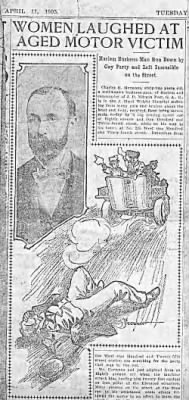 Newspaper article about Charles Henry Herman as victim of hit-and-run accident