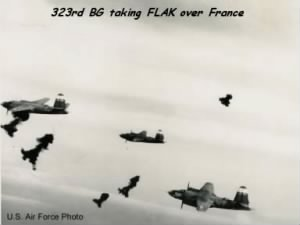 B-26 of the 323rd Bom,b Group taking FLAK over France.