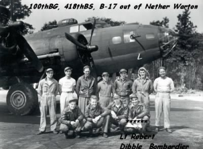 Robert Dibble with his CREW and B-17 - Fold3.com