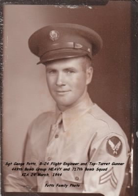 B-24 Engineer/Gunner, Sgt George Potts, KIA 24 Mar.'44