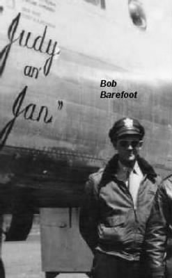 """Lt Robert Barefoot with his B-25 """"Judy and Jan"""" 1945 MTO"""