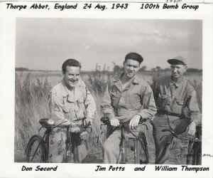 "100th BG ""Secord, Potts and Thompson"" Thorps Abbot, England, 1944"