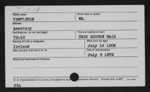 William Templeton Naturalization record