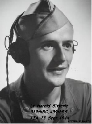 Lt Sitterle, KIA 23 Sept.1944 /Italy in B-26 of the 319thBG, 439thBS